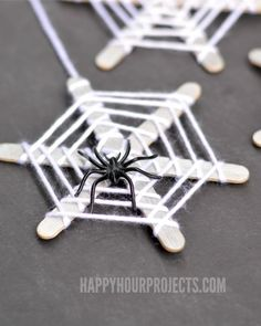 Halloween Crafts for Kids | Craft Stick Spiderwebs at http://www.happyhourprojects.com