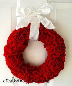 pretty Felt wreath for Valentine's Day by @Kara Cook (Creations by Kara)