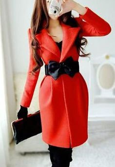 Belted Notched Collar Red Black Long Jacket Slim Fit Coat Tunic