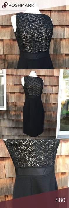"""Kay Unger NY Black & Taupe Cocktail Dress Excellent Used Condition.  No flaws to note.  Kay Unger New York. Taupe and cocktail dress.  Sheath dress style. Black skirt and textured """"see through"""" patterned fabric on top.  SO pretty!!  Slit in the back.  Zip in back. Fully lined. Approximate measurements taken with garment laying flat: underarm to underarm 17"""", waist 15"""", hips 19.5"""", shoulder seam to waist 15"""", shoulder seam to hem 39"""". Kay Unger Dresses Midi"""