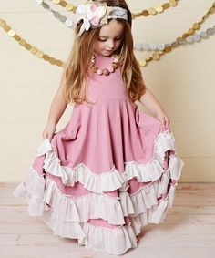 Oopsie Daisy Dusty Pink & White Ruffle Tiered Halter Dress - Toddler & Girls | zulily