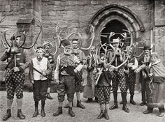 The Players in the Abbots Bromley Horn Dance' - Published in 'Sir Benjamin Stone's: Pictures - Festivals, Ceremonies and Customs', England - c1900