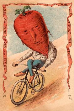 """Vegetable People Beet Riding a Bicycle 8 x 12"""" Print"""