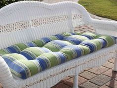 Make your Sahara Loveseat even more comfortable with a cushion. This cushion is designed specifically to fit our Sahara Loveseat. The patterned cushions. Porch Swing Cushions, Bench Cushions, Outdoor Cushions, Deck Furniture, Furniture Design, Outdoor Rooms, Outdoor Living, Outdoor Stuff, Outdoor Decor