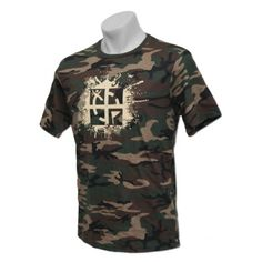 Military Green Camo Cache Attack T-Shirt $19.00 USD  Blend right in to your geocaching environment with a Camo Tee!  The Geocaching Camo Tee is Military Green with the Cache Attack logo.  100% Pre-Shrunk Cotton.