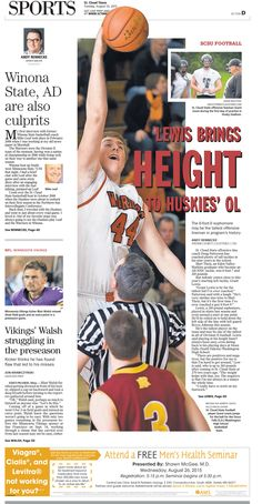 News Design: St. Cloud Times' Augsut 25, 2015 sports cover