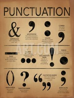 Punctuation Grammar and Writing Poster For Home, Office or Classroom. Fine Art Paper, Laminated, or Framed Punctuation Grammar and Writing Poster For Home, Office or Classroom.Art Print: Punctuation - Gramm ar and Writing Poster by Jeanne Stevenson : Grammar Posters, Writing Posters, Writing Words, Writing A Book, Punctuation Posters, Punctuation Activities, Writing Help, Essay Writing Tips, Grammar And Punctuation