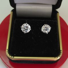 2.00 CT ROUND BRILLIANT CUT SCREW BACK BASKET STUD EARRINGS SOLID 14K WHITE GOLD #Giamond #Stud