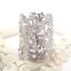 Bridal cuff bracelet, crystal and pearl bracelet, filigree cuff bracelet, wedding jewelry, statement bracelet Bridal Cuff, Bridal Veils, Crystal Rhinestone, Swarovski Crystals, Ankle Bracelets, Pearl Bracelets, Handcrafted Jewelry, Handmade, Ivory Pearl