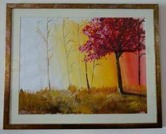 Painting Modern Art Tree Sunset Landscape Original Abstract