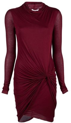 Helmut Lang burgundy oxblood Bordeaux long sleeve knit dress