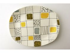 Midwinter pattern 'Chequers' pattern charger, designed by Terence Conran. 1957