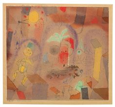 Paul Klee 'Maroccanischer Traum' (Moroccan Dream) my own attempt at translation[g.s.] 1918 Watercolor over pen and ink on cardboard 7.8 x 8.5""