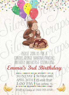 Watercolor Curious George and Confetti Custom Birthday Party Invitation - Banana Pancakes Boy Girl Joint Monkey Breakfast Matching Back Side