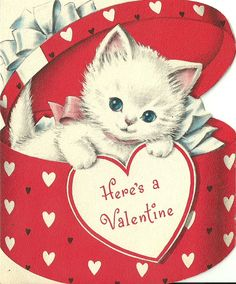 Vintage Valentine's Day Card- 1950's. $3.00, via Etsy. Too cute kitten! For scrapbooking, altered art, gift tags, framing, cards.