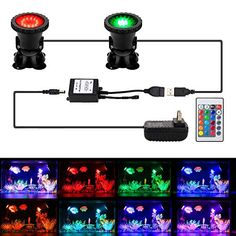 12 LED Underwater Spotlights For Pool Fountain Koi Fish Pond 4-Color Lens