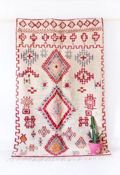 "Vintage Moroccan Boucherouite Ourika Rug, ""The Joni,"" Berber Rug, Pink Red Rug, Geometric Pattern, Colorful Rug, Bohemian, Boho Rug, Tribal"