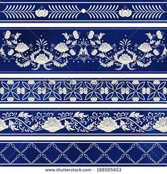 Seamless vector set of five borders. Ornament in chinese style. Elegant floral design.  Imitation of chinese porcelain painting. Blue watercolor background. Hand drawing.  - stock vector