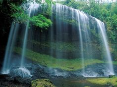 #waterfall #green #beautiful #places