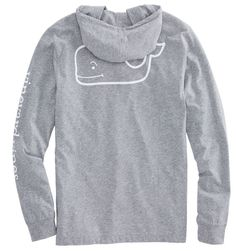 Vineyard Vines Long-Sleeve Heather Whale Hoody Pocket T-Shirt