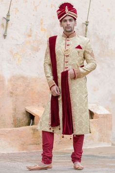 Traditional Indian jodhpuri sherwani collection online for wedding, sangeet and festive occasions. choose from latest designer shervani designs to buy sherwani online. Indian Wedding Poses, Wedding Dresses Men Indian, Wedding Outfits For Groom, Indian Wedding Couple Photography, Groom Wedding Dress, Wedding Henna, Bridal Outfits, Groom Dress, Indian Bridal