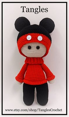 Micky Big Head Doll Amigurumi 15 Tall Ready to Crochet Buttons, Cute Crochet, Crochet Baby, Knitted Dolls, Crochet Dolls, Big Head Baby, Giraffe Toy, Crochet Disney, How To Make Toys