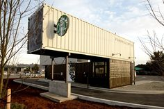 starbucks drive-thru and walk-up store made from shipping containers