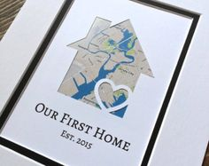 Our First Home- Personalized Home Map Matted Gift- First Home Gift- New House Housewarming Gift- First Anniversary or Wedding Gift First Anniversary Gifts, Paper Anniversary, Wedding Vow Art, First Home Gifts, House Map, Client Gifts, Custom Map, Personalized Wedding Gifts, Engagement Gifts