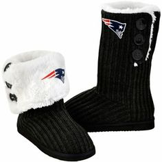 New England Patriots Ladies Knit High End Button Boot Slippers - Black