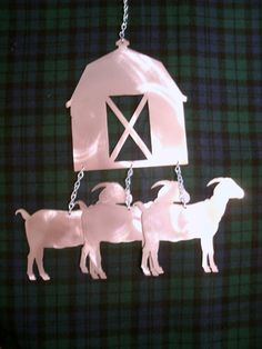 Wind Chime Farm Animals Wood /& Silver Windchime Sheep Pig Cow Cockerel