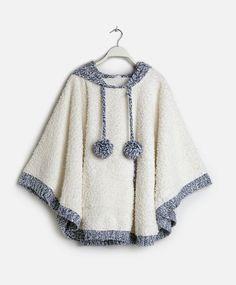 Poncho capucha tricot - OYSHO