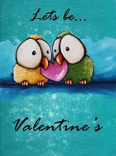 ACEO Print VALENTINE'S DAY ART whimsical bird heart lets be Valentines #ACEOATCIllustrationArt