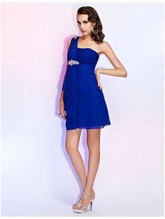 Hot A-line One-shoulder Mini-length Chiffon Cocktail Dress SAL2075-LT