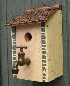 Image result for bird house with faucet handle perch