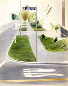 David Hockney's De Longpre Ave. Hollywood 1976. I love the peaceful texture and muted colours you get from  crayon & pencil.