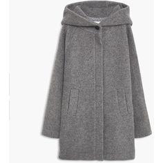 MANGO Hooded Wool Coat ($130) ❤ liked on Polyvore featuring outerwear, coats, wool coat, woolen coat, long sleeve coat, hooded coats and mango coat