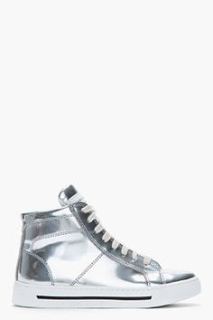 MARC BY MARC JACOBS Silver leather Mirror High Top Sneakers Marc by Marc Jacobs