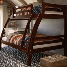 Durrell Twin Over Full Bunk Bed with Ladder & Reviews | Birch Lane