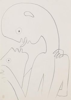 Pucker Up! 10 Lovable Artworks Titled 'The Kiss' to Celebrate Valentine's Day Jean Cocteau, Pencil And Paper, Art Database, Doodle Sketch, Wire Art, French Artists, Line Drawing, Erotica, Comic Art