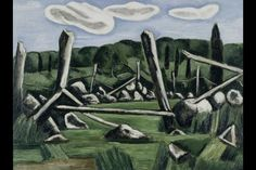 """""""The Old Bars, Dogtown"""", Marsden Hartley, 1936. Oil on composition board, 18 x 24"""", Whitney Museum of American Art."""