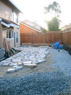 Recycling concrete form old sidewalks... this is cool!!! This is the other... a whole back patio. and you can fill in with sand or pebbles or even moss