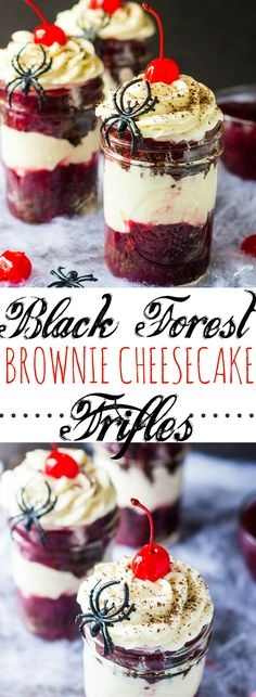 Black Forest Brownie Cheesecake Trifles {Halloween}