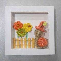 "6 Likes, 1 Comments - Bibi pirouette (@bibipirouetteetsesamis) on Instagram: ""Cadre en crochet petite scénette enfantine ! #crochet #escargot #cadrerelief"""