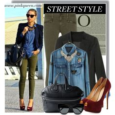 Pinkqueen.com - denim by anne-mclayne on Polyvore featuring AG Adriano Goldschmied, Giuseppe Zanotti, Givenchy, STELLA McCARTNEY, modern and PinkQueen Blazer Buttons, Adriano Goldschmied, Pretty Woman, Giuseppe Zanotti, Stella Mccartney, Givenchy, Street Style, Style Inspiration, Denim