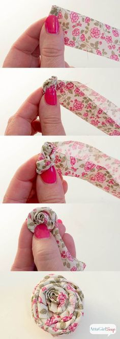 Step-by-step instructions for making rolled fabric flowers from Atta Girl Says: