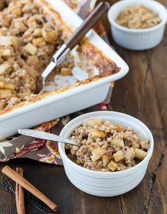 Need a warm, make-ahead breakfast? Make a batch of this hearty Baked Steel Cut Oatmeal with Apples & Cinnamon, and enjoy breakfast all week long!