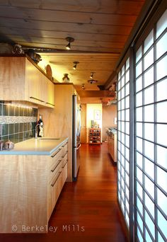 Kitchen with sliding Shoji panel room partitions