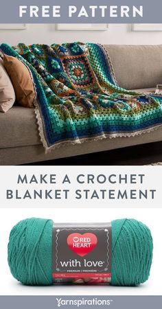 Free Make a Blanket Statement crochet pattern using Red Heart With Love yarn. Imagine the luscious colors and cozy warmth of this crochet blanket brightening up the mood in your home. Gorgeous shades bring life to this completely modern granny throw that features 2 sizes of crochet squares to keep you engaged as you work. #Yarnspirations #FreeCrochetPattern #CrochetAfghan #CrochetThrow #CrochetBlanket #GrannySquare #RedHeartYarn #RedHeartWithLove Easy Crochet Patterns, Afghan Patterns, Free Pattern, Pattern Ideas, Red Heart Yarn, Granny Square Blanket, Granny Squares, Crochet Squares, Pattern Making