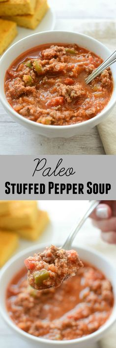 Paleo Stuffed Pepper Soup - add cabbage for stuffed cabbage soup. a paleo version of the classic stuffed pepper soup! Uses cauliflower rice instead of white rice! Paleo Whole 30, Whole 30 Recipes, Real Food Recipes, Soup Recipes, Cooking Recipes, Healthy Recipes, Whole 30 Soup, Paleo Stuffed Peppers, Stuffed Pepper Soup