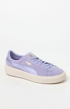Give your casual style a boost with the Women's Suede Platform Mono Satin Sneakers made by Puma. A well-loved classic, these platform sneakers are defined by a suede upper with a satin basket side, a thick rubber sole, wordmarks, and a lightly cushioned footbed for extra support.    Suede upper  Satin basket side  Textile lining  Lightly cushioned footbed  Puma branding on tongue tag, side and heel  Thick rubber outsole